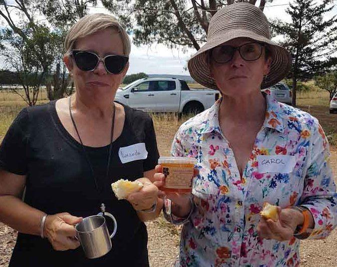 Amanda & Carol with fresh apiary honey